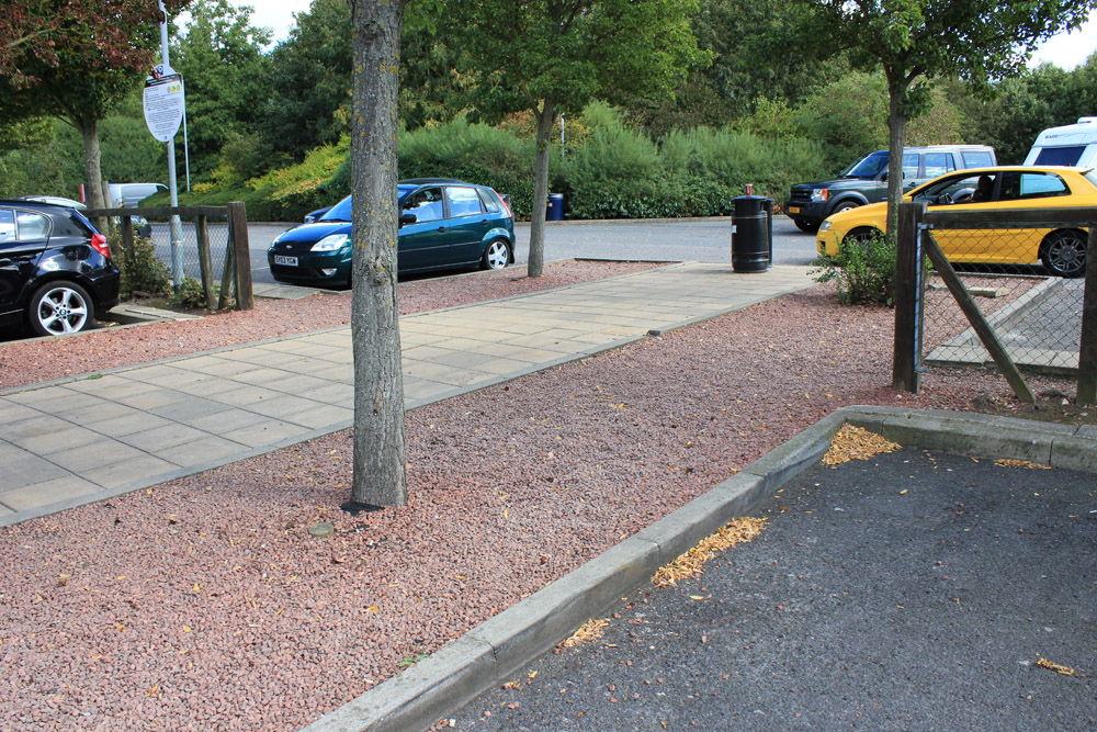 Red Porphyry aggregate at a service station in Essex.