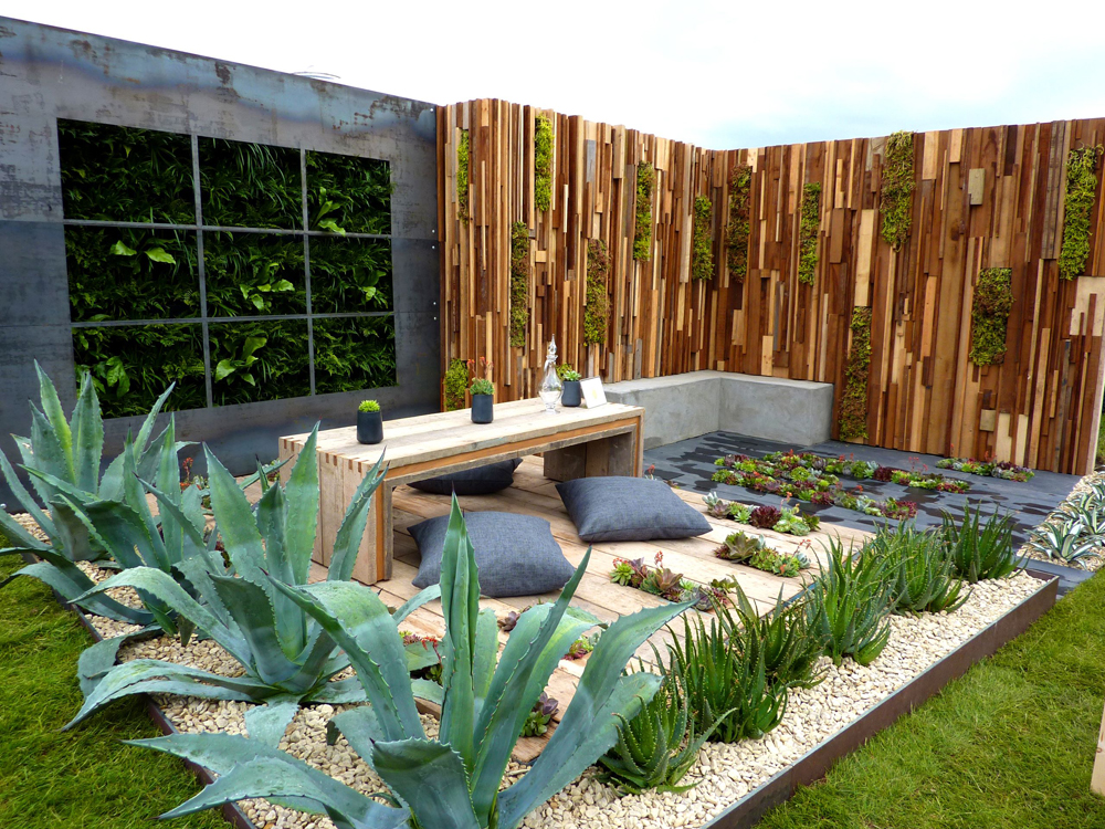 Buff Thames and Black Limestone Paving used in the Austerity Garden at Gardeners World Live 2013 by Jade Goto Landscape Studio