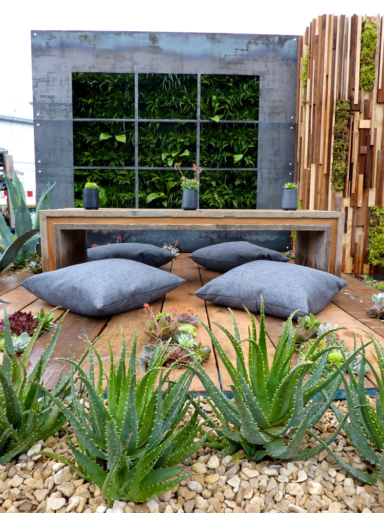 Buff Thames and Black Limestone Paving used in the Austerity Garden at Gardeners World Live 2013 by Jade Goto Landscape Studio.