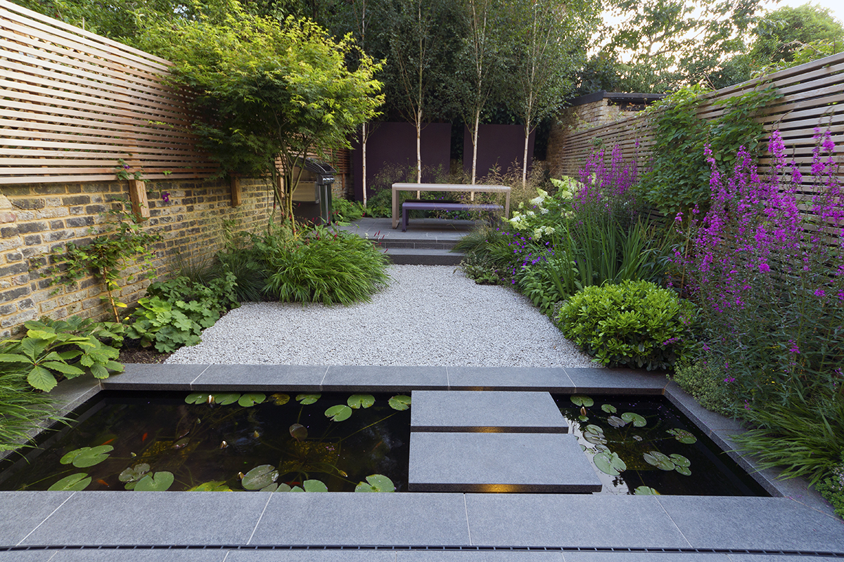 Black Basalt paving, Silver Grey Granite Aggregate and CEDAgravel.  Garden designed by John Davies and built by Hortus Blackheath Ltd.  For more images of this garden, see our Private Spaces projects.
