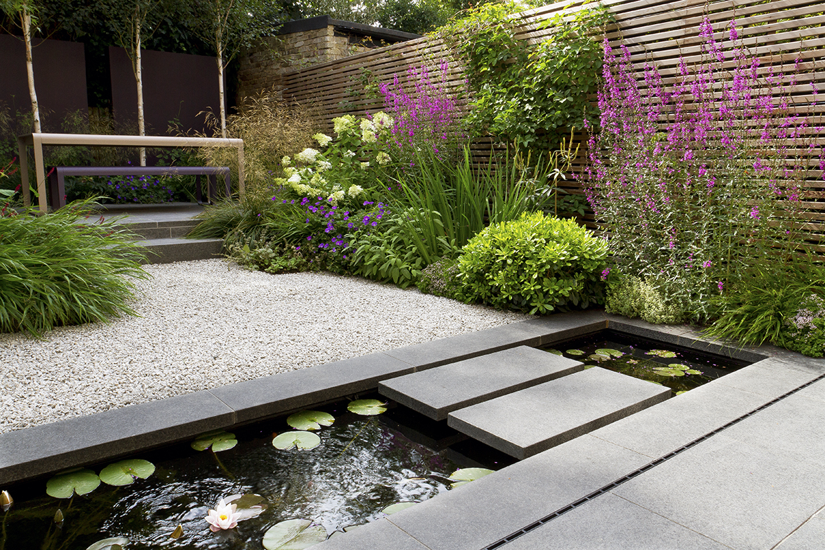 Black Basalt, Silver Grey Granite Aggregate and CEDAgravel.  Garden designed by John Davies and built by Hortus Blackheath Ltd.  For more images of this garden, see our Private Spaces projects.