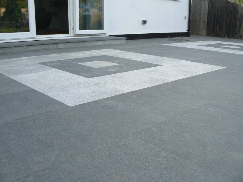 Silver Grey Granite with Black Basalt Paving' Private House.