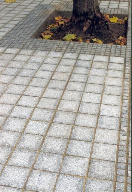 Silver grey granite imperial setts at the Imperial College' London.
