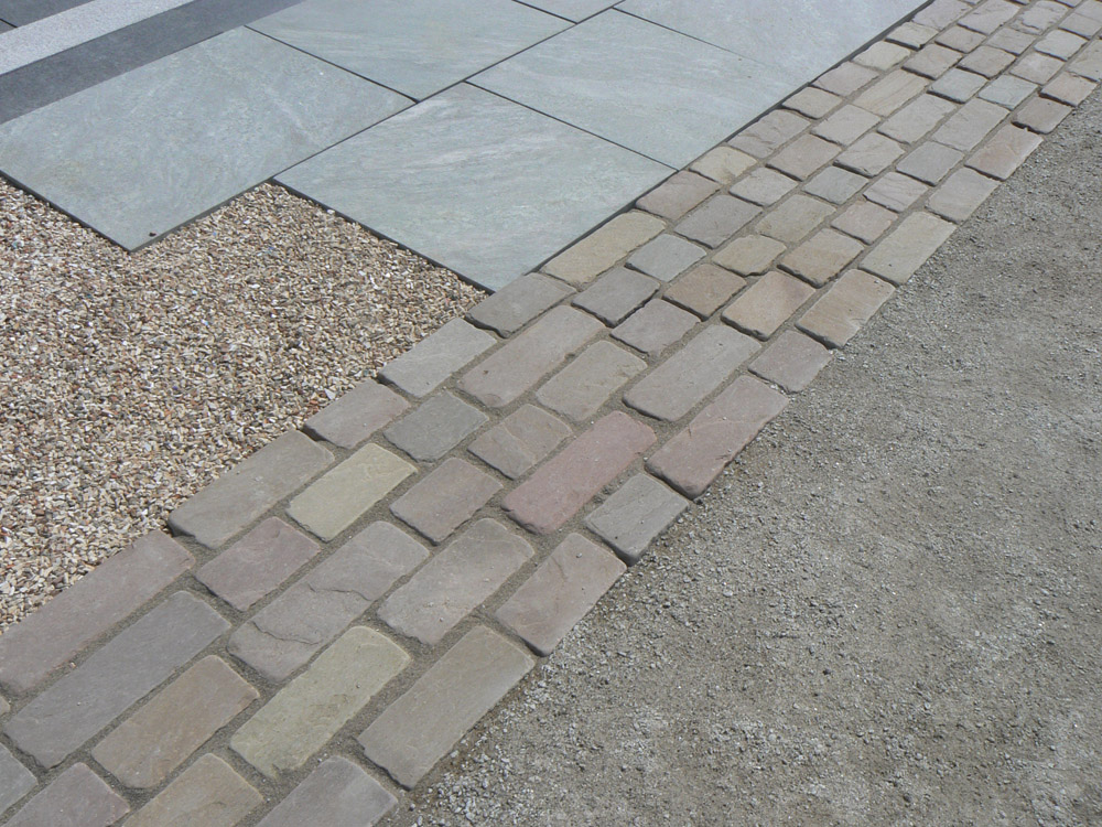 Cathedral tumbled sandstone setts on the CED stand at the BALI Landscape Show 2012.
