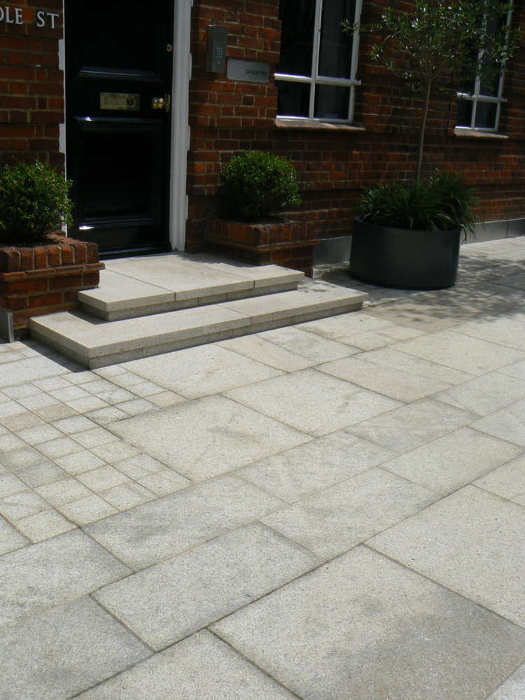 Yellow granite paving and setts' Whitelands House. For further images and info on this job please go to our Projects Gallery.