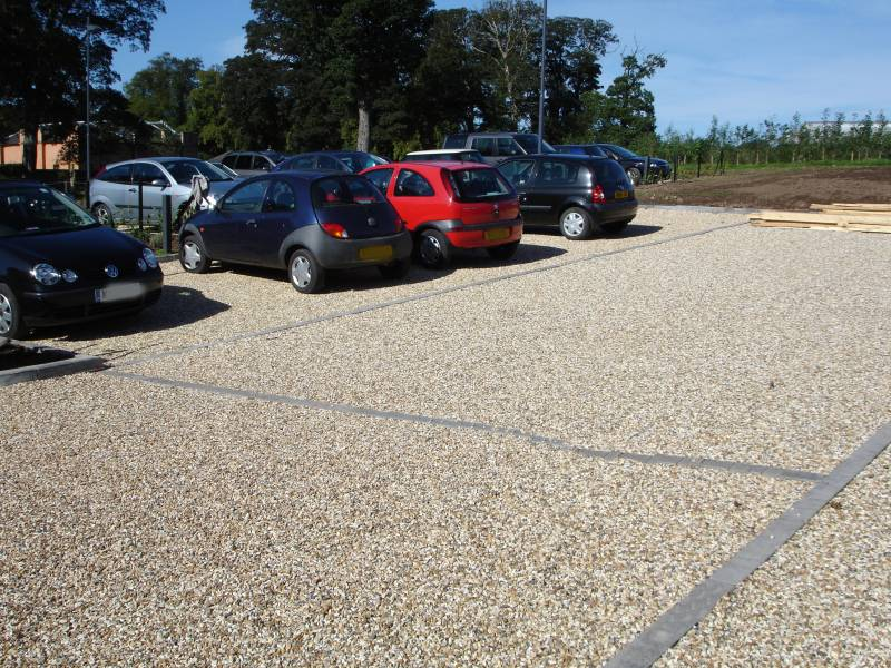 Cedagravel® filled with Golden Flint Gravel in a car park' Scotland.