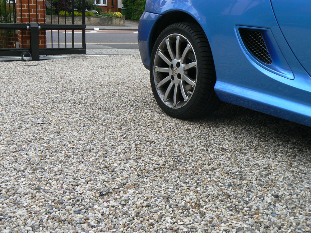 Cedagravel® filled with Flint Gravel. Private driveway' Essex.