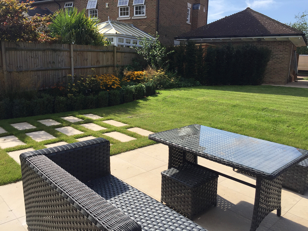 Private garden by Landscape One Design Ltd using our Mijo Porcelain Paving in Dolce.  Images courtesy of Landscape One Design.