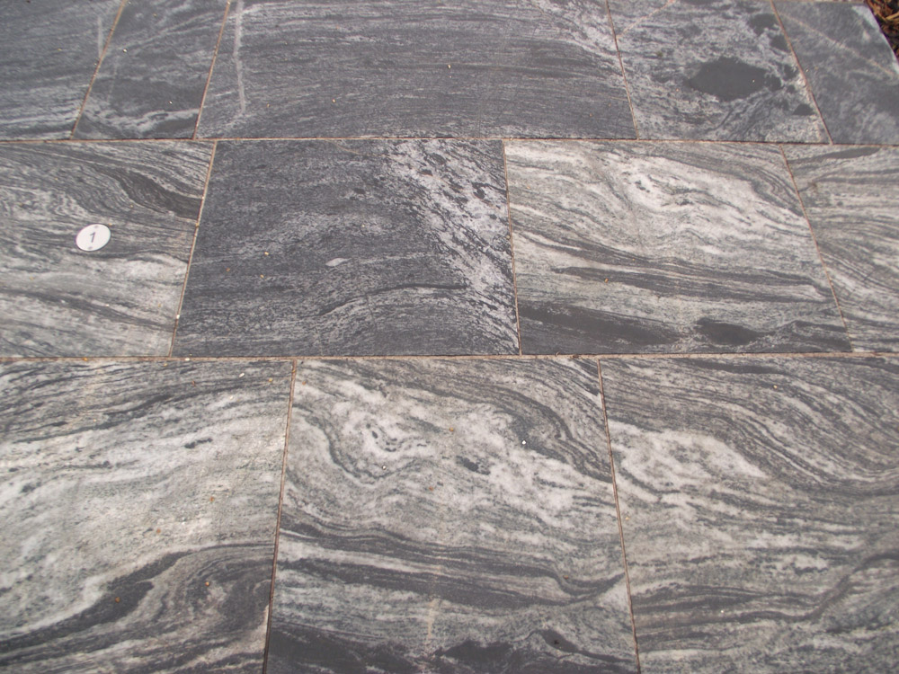 <p>Lewisian Gneiss</p>  <p>Sawn &amp; flame textured</p>  <p>600mm wide x 600-1200mm long x 50mm thick</p>